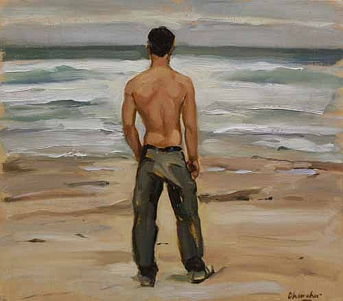Peter Churcher (born 1964) Nick Looking out to Sea (circa 2002) oil on board