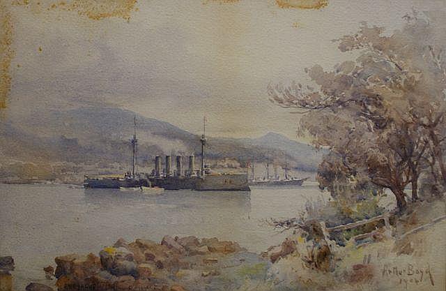 Arthur Boyd Senior (1862-1940), Euryalus on the Derwent 1904