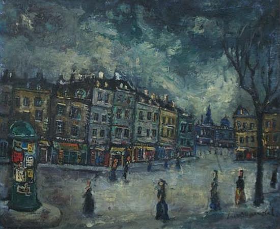 Boris Frenkel (Polish, 1895-1984) Rue 1973 oil on canvas