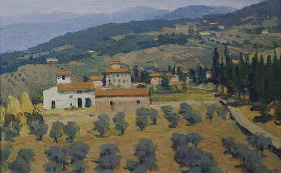 James Cook (1904-1960) Near Florence oil on board