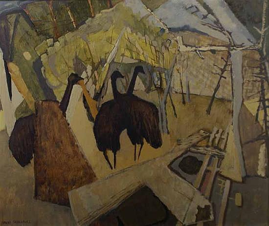 David Schlunke (born 1942) Emus in Landscape (circa 1966) oil on board