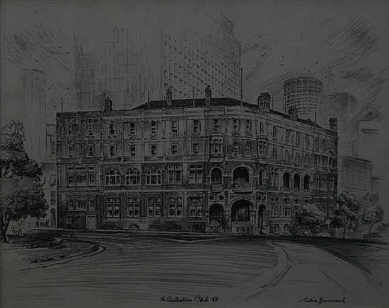 Cedric Emanuel (1906-1995) The Australian Club 1969 pencil
