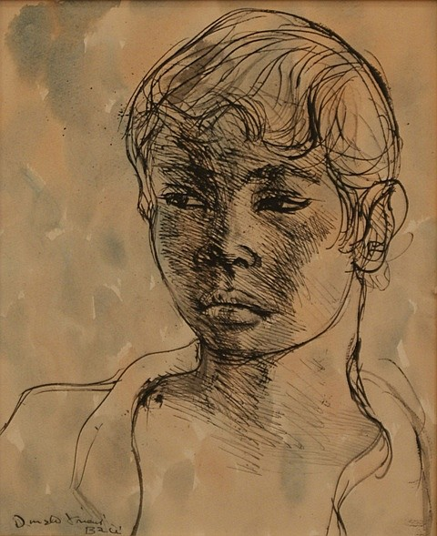 Donald Friend (1915-1989) Head Study ink and watercolour on paper on board