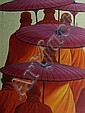 Min Wae Aung (Burmese, born 1960) Buddhist Monks 2000 acrylic on canvas, Min Wae Aung, Click for value