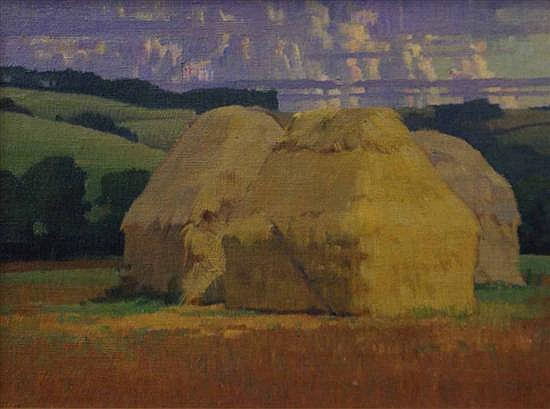 James Cook (1904-1960) Haystacks oil on canvas on board