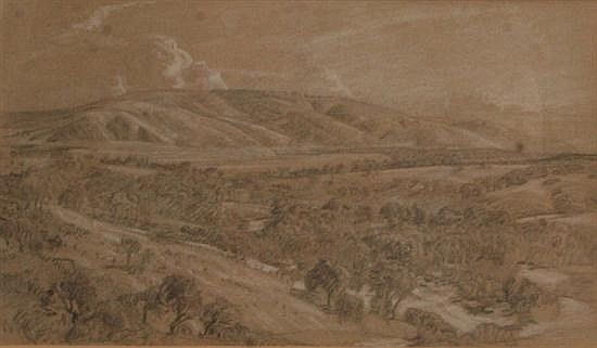 Hans Heysen (1877-1968) Inman Valley pencil and wash