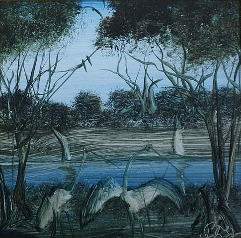 Pro Hart (1928-2006) Swamp Birds I oil on board