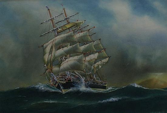 A. V. Gregory (1867-1957) Cutty Sark Off Cape Otway 1937 watercolour