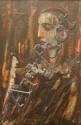 Carl Buchner (South African, 1921-2003) Clown in Profile oil on board