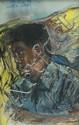 Donald Friend (1915-1989) Batik Shirt 1989 pastel and watercolour