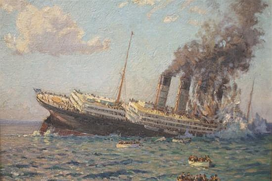 Charles Bryant (1883-1957) The Loss of the Lusitania oil on canvas board