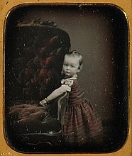 CHILD BESIDE CHAIR, 1/6 plate daguerreotype by Whitney.
