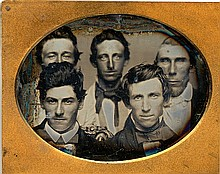 CROWDED FACES OF 5 GUYS, 1/9 plate daguerreotype.