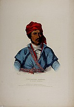 TIMPOOCHEE BARNARD, Uchee Indian Warrior. Color litho