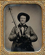 BANJO PLAYER, ambrotype