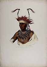 CHON-MAN-I-CASE-OTTO, hand-colored folio lithograph by Key and Biddle, from Vol. 1 of McKenney and Hall,