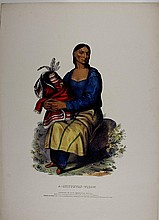 A-CHIPPEWAY-WIDOW. Colored litho, McKenney & Hall