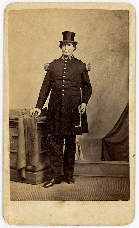 "Captain M. V. [Martin Van Buren] Bates, a giant known as the ""Kentucky Giant."""