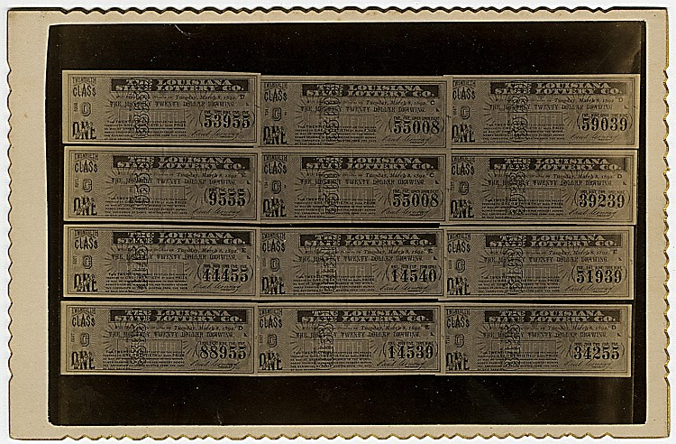 Winning tickets for the Louisiana Lottery., 1892.