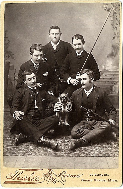 Dogs and people. 3 cabinet cards.