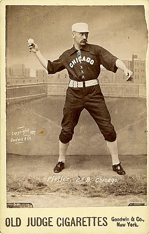 Baseball player Fred Pfeffer, 2nd base and short stop for the Chicago White Stockings, 1887.