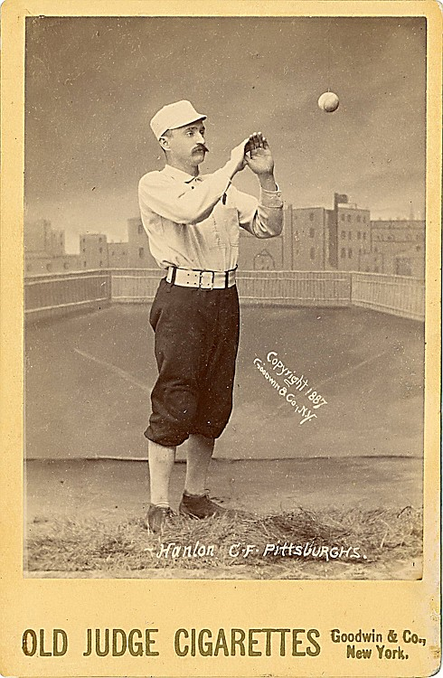 "A baseball player, Hall of Famer Edward Hugh ""Ned"" Hanlon, center fielder and Manager of the Pittsburgh ""Burghers."""