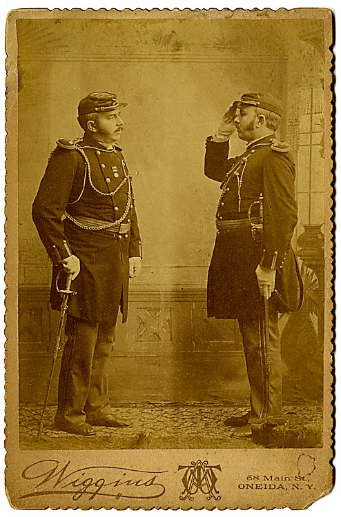An officer salutes himself.