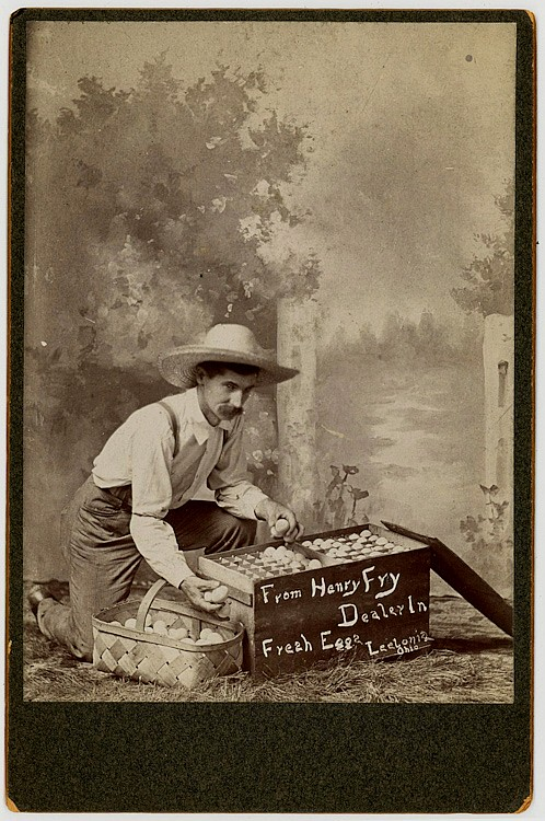 An egg dealer, putting eggs into cartons.