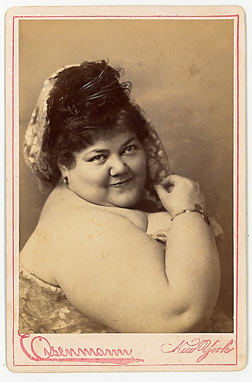 A pair of fat women performers, by Eisenmann. Ida Williams, weighing 556 pounds at the age of 25.