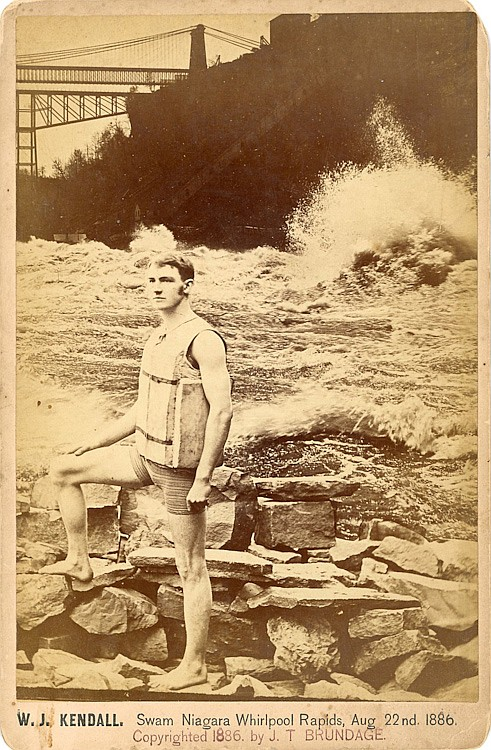"W. J. Kendall, ""Swam Niagara Whirlpool Rapids, Aug. 22nd 1886."""