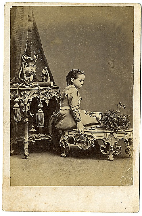 """Specimen Cabinet Photograph,"" an advertisement for Fancy Tables, Vases and Bases to furnish a studio, by Wilson, Hood & Co."