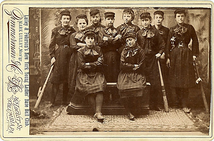 A women's baseball club. Lulley & Peterson's New York Young Ladies' Base Ball Club.