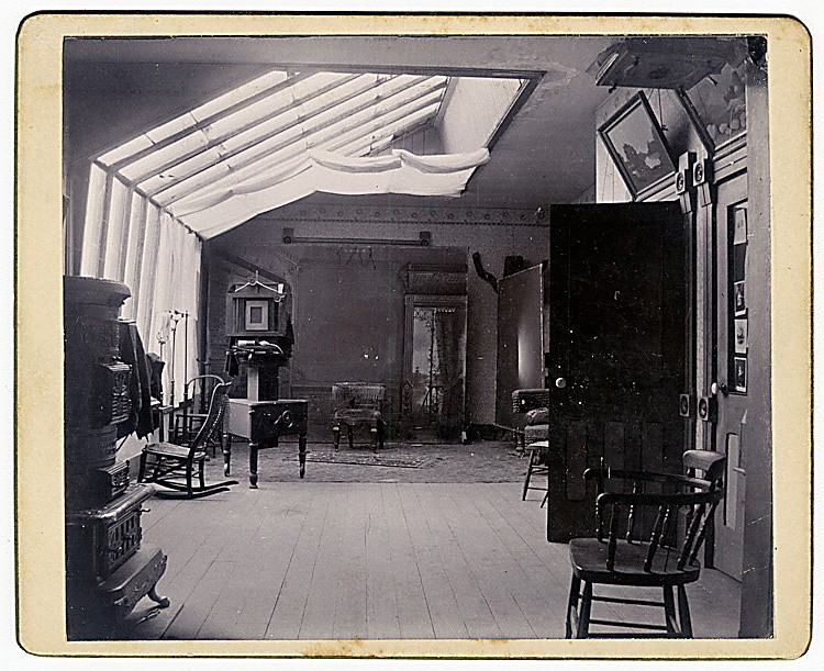The interior of the photo gallery of G. W. Rundlett, Sharon, Wisconsin.