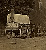 """View in Culpepper Va. with O'Sullivan's photo wagon. Gardner's view 524, """"View in Culpepper, Court House in the Distance."""""""