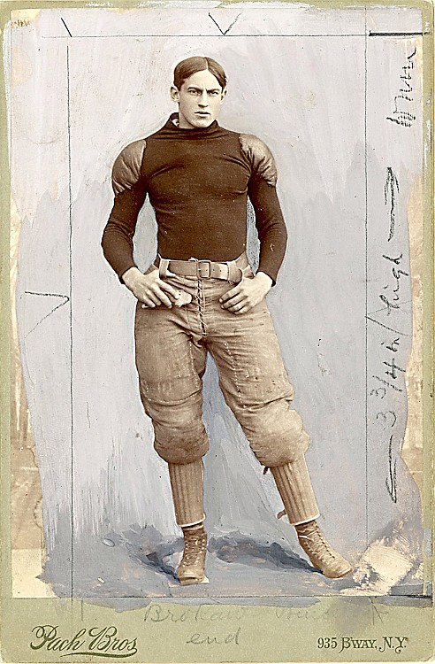 "A football end, identified as ""Brokaw,"" Probably H. C. Brockaw, Left End for Princeton. Cabinet card by Pach Bros., NY."