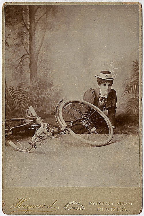 A woman who fell off her bicycle [as staged in the studio.]