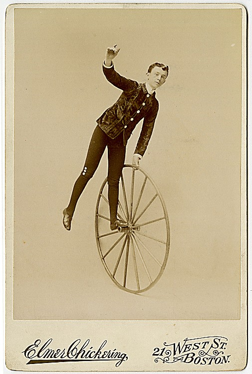 Unicycle and high wheel bicycle act, the Valdare Brothers.