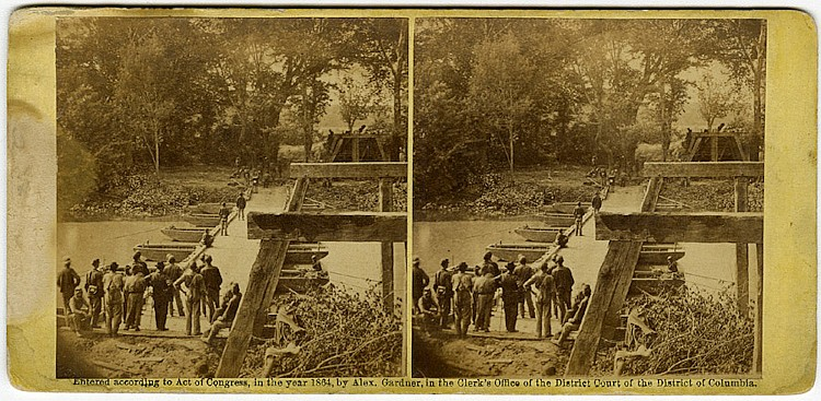 """""""Ruins of Bridge at Mrs. Nelson's,"""" by O'Sullivan, published by Gardner, Philp and Solomons. C. 1864."""