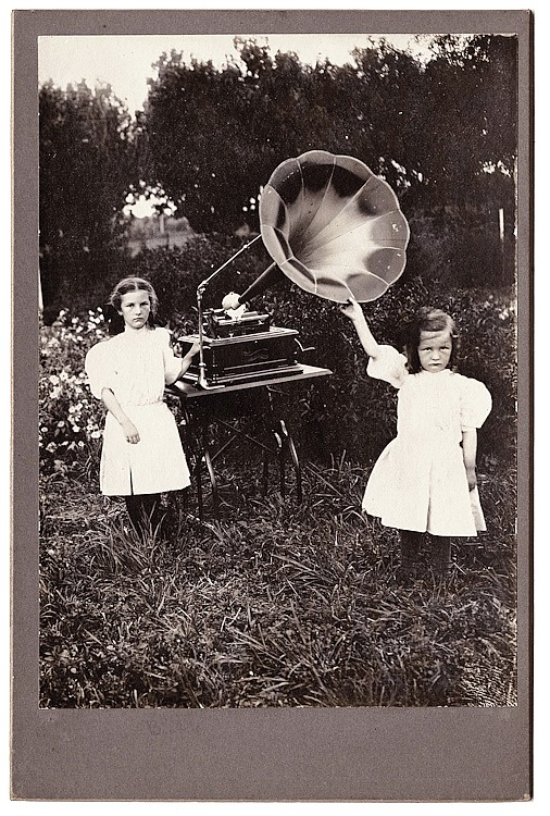 A large cylinder gramophone with a large speaker.