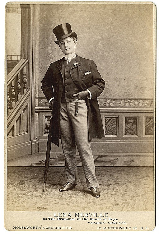 "Lena Merville, in the male role of ""The Drummer"", by Houseworth's Celebrities."