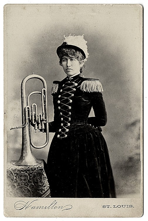 Musicians with brass instruments, 3 cabinet cards.