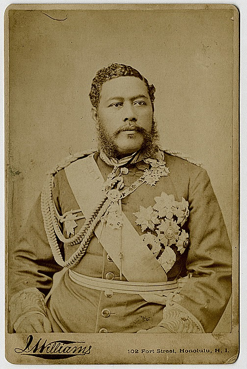 "King Kalakaua, the last reigning monarch of Hawaii, known as the ""Merrie Monarch."""