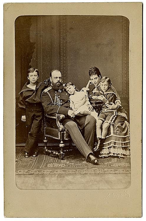 Tsar Alexander III of Russia with his wife Marie Feodorovna and their children Nicholas, George & Xenia, 1878.