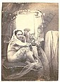 """[ PHOTOGRAPHS ] Nude seated before a mirror, salt print d'Olivier 2 7/8in. x 2"""" salted paper print, probably by Louis-Camille d'Olivi..."""