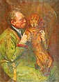 Anna Louisa Swynnerton (1844-1933) A man's best friend signed and dated 1908 bottom right oil on canvas 90 x 65cm. * Exhibited: The New Gallery, Summer Exhibition 1908., Annie Louisa Swynnerton, Click for value
