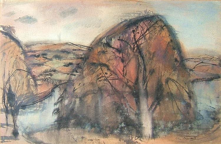 John Maxwell (1905-1962) - Grey landscape - signed