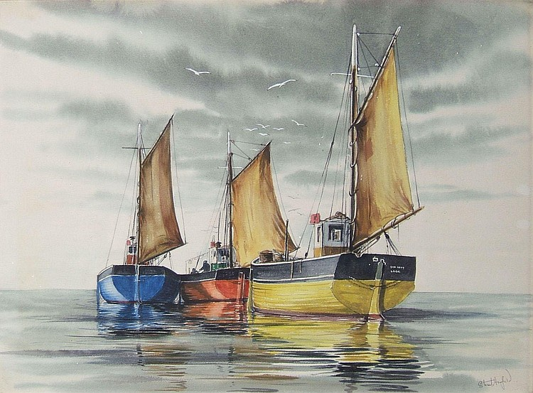 Stuart Armfield (1916-2000) - Looe Fishing Boats -