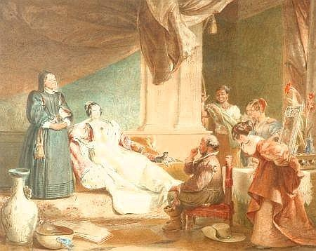 Sold Price Charles Robert Leslie 1794 1859 Sancho Panza In The Apartment Of The Duchess Indistinctly Signed Bottom Right Watercolour 35 X 44cm E700 900 The Subject Is Taken From Don Quixote Part Ii