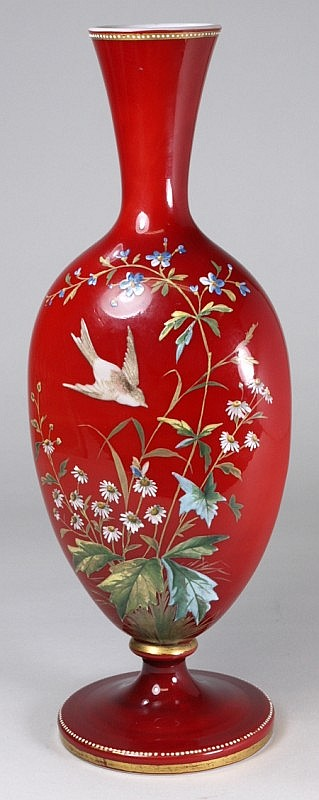 A French glass vase the white and red cased body