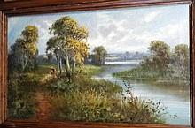 Frank Hider [1861-1933] River Scene: - signed oil